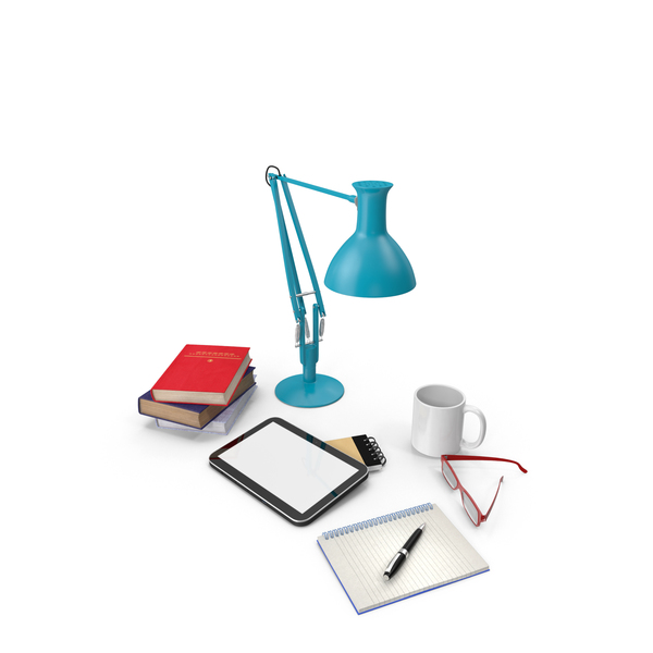 Desk Lamp with Office Supplies Object