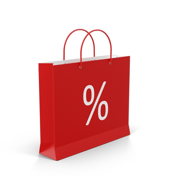 Red Shopping Bag With Percent Label Object