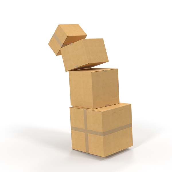 Falling Cardboard Box Stack Object