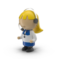 Cartoon Woman Operator Character Object