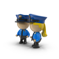 Cartoon Police Officer Characters Object