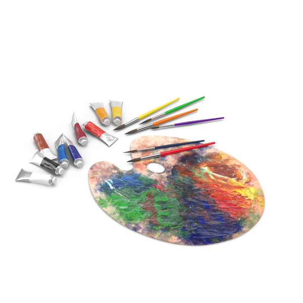 Messy Paint Pallete With Paint Tubes Object