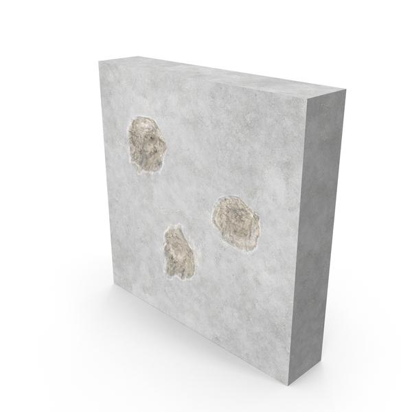 Bullet Hole Impacts Concrete Object