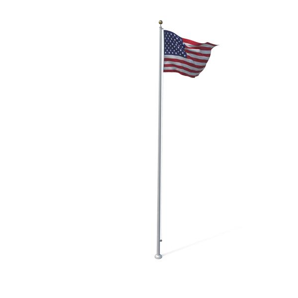 Raised American Flag Object