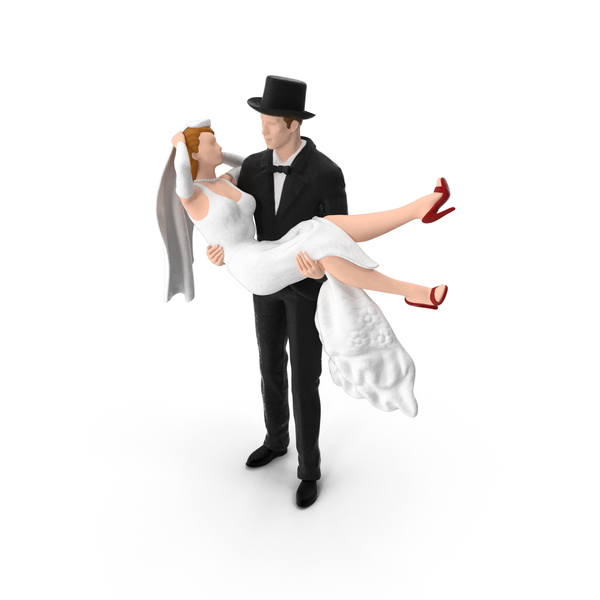 Bride and Groom Miniature with Top Hat Object