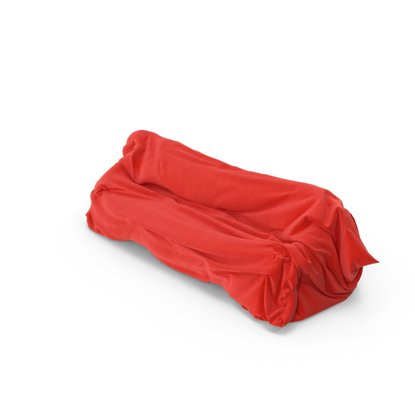 Red Fabric Covered Sofa Object