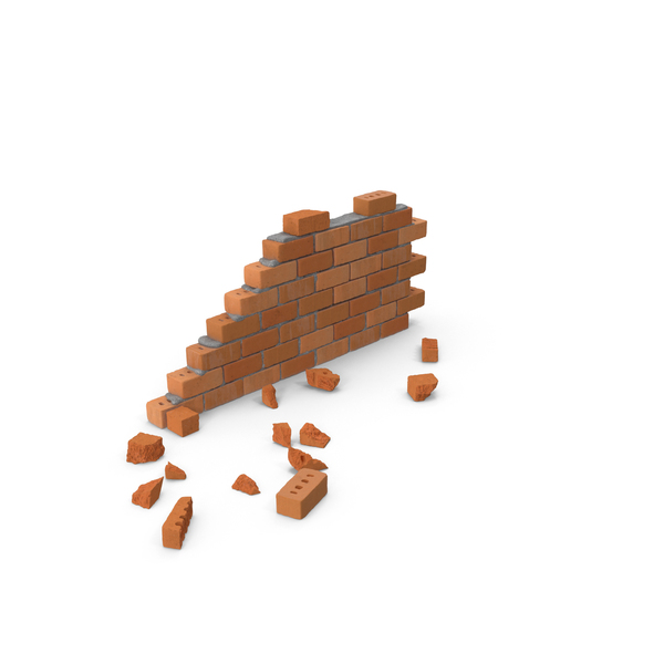 Brick Wall Section with Debris Object