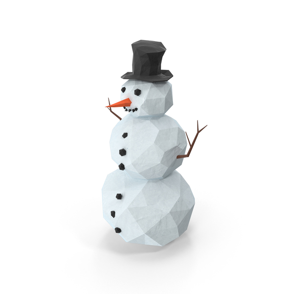 Low Poly Snowman Object