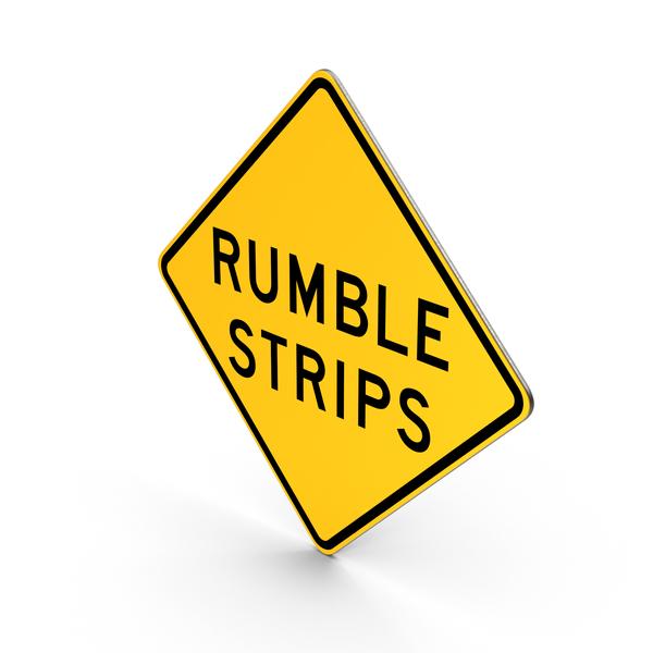 Rumble strips ahead signs